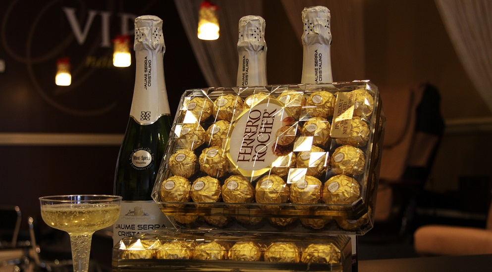 happy new year free champagne and chocolate